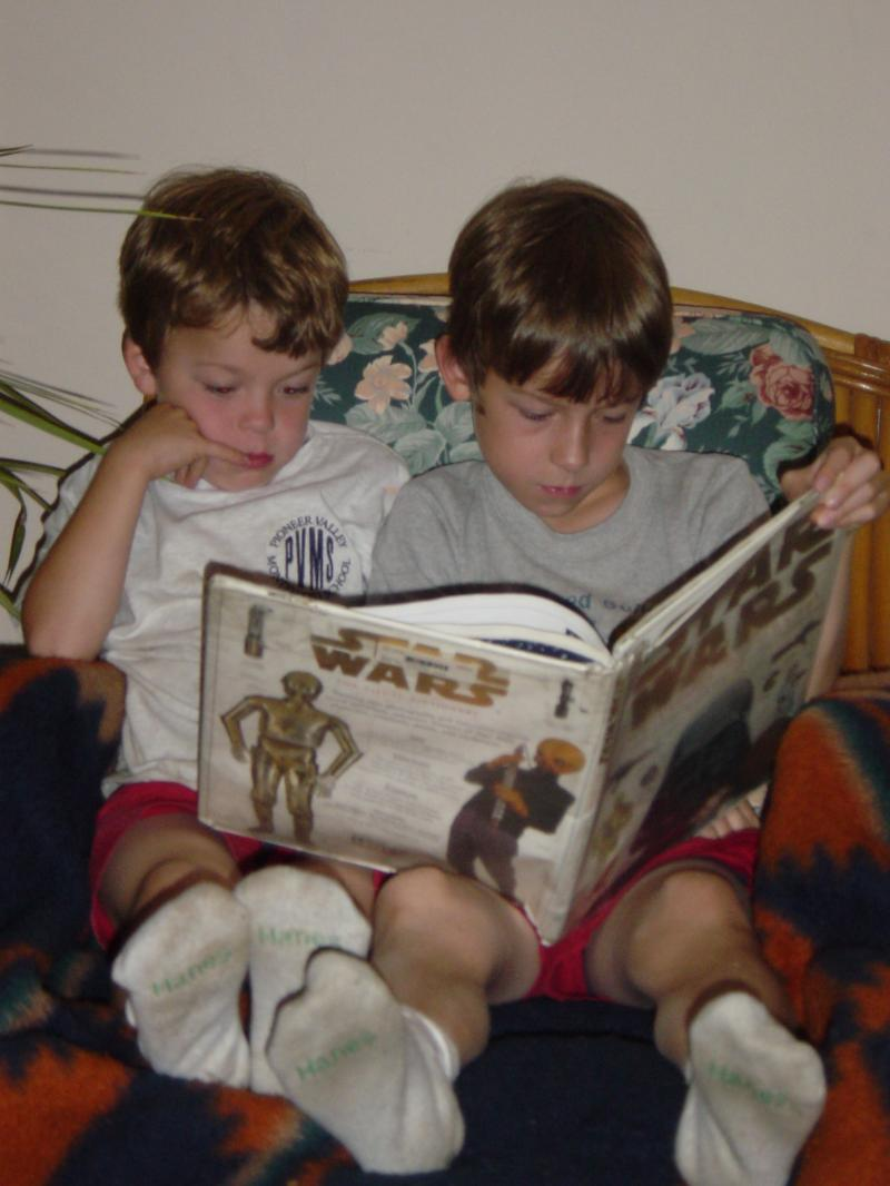 Liam and Solon reading, 2006?
